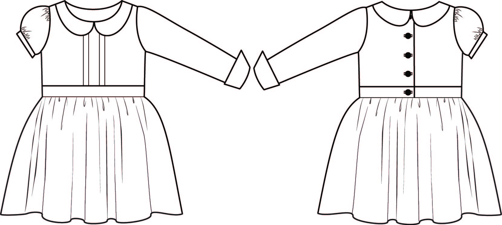 Line Drawing Violet : Violet dress pdf pattern