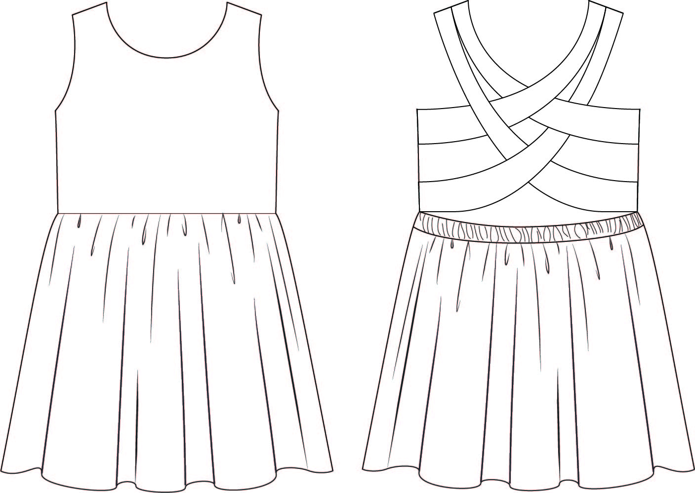 Line Drawing Dress : Summer outfit drawings